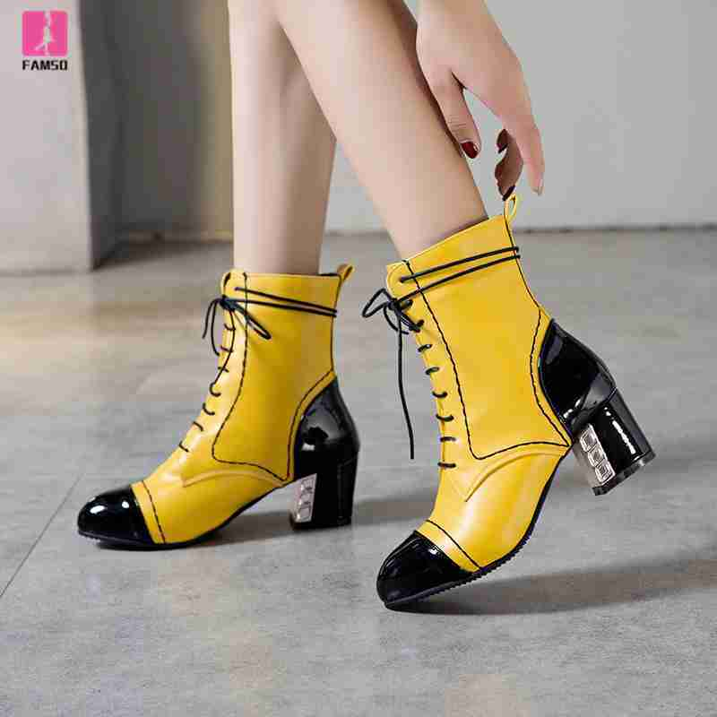 FAMSO 2019 Shoes Heels Women Boots Large Size 34 43 Patchwork Round Toe High Heels Top Fashion Lady Riding Boots Winter