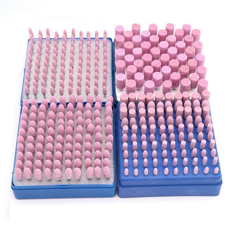 10pcs/lot Pink Cylinder Cone Corundum Grinding Head Polishing Polisher Head Replacement Manicure Nail Drill Bit Tools