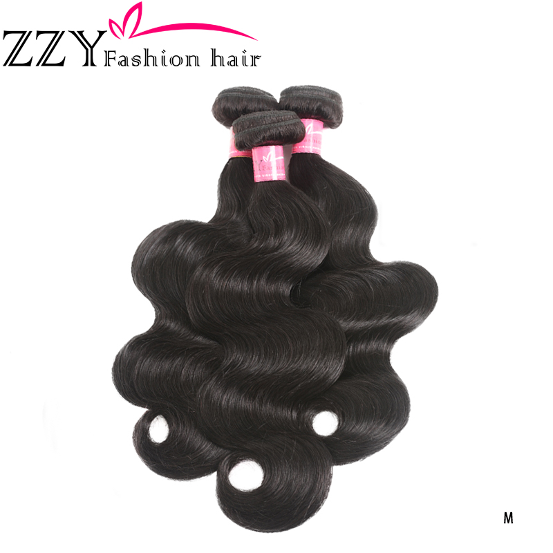 ZZY Fashion Hair Brazilian Body Wave Hair Bundles 8-26 Inch Human Hair Weave Extensions 3 Bundles Natural Color Non-remy Hair