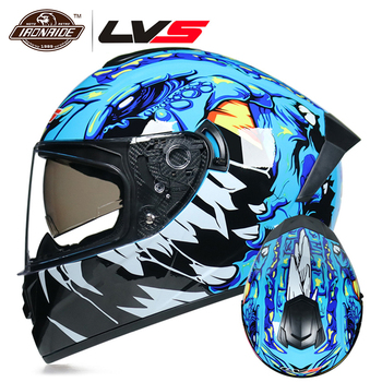 LVS Motorcycle Helmet Motocross Helmet  Full Face Casco Moto 3 Colour Double Lens Motorbike Moto Helmet Capacete DOT Approved