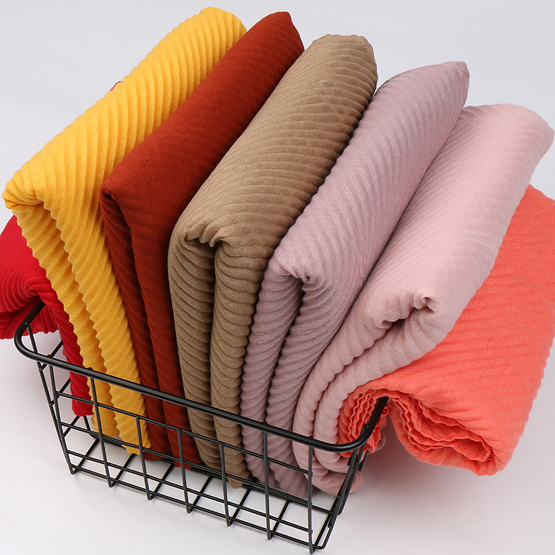 Large Size TR Cotton Scarf Pleated Crinkle Women's Hijab Muslim Head Wrap Wrinkle Shawl Scarves Plain Colours