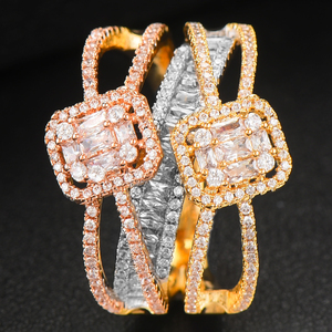 Image 5 - GODKI Baguette ตัดแหวน Handmade Rainbow CUBIC Zirconia แหวนแฟชั่น Finger อุปกรณ์เสริมงานแต่งงาน