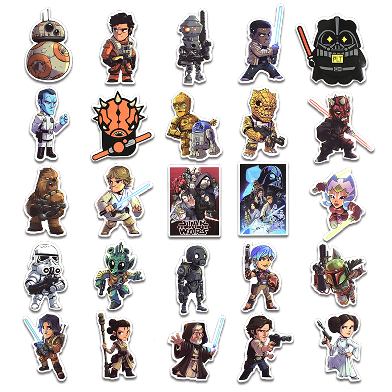 Image 2 - New 50Pcs Star Wars Stickers For Kids DIY Creative Graffiti Sticker For Laptop Guitar Fridge Skateboard Luggage Car Doodle Decal-in Stickers from Toys & Hobbies