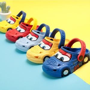 Original Disney Cars Porous Cosplay Shoes 2-7 Years Old Boy Lightning McQueen Car Cute Blue Red Yellow Beach Slipper