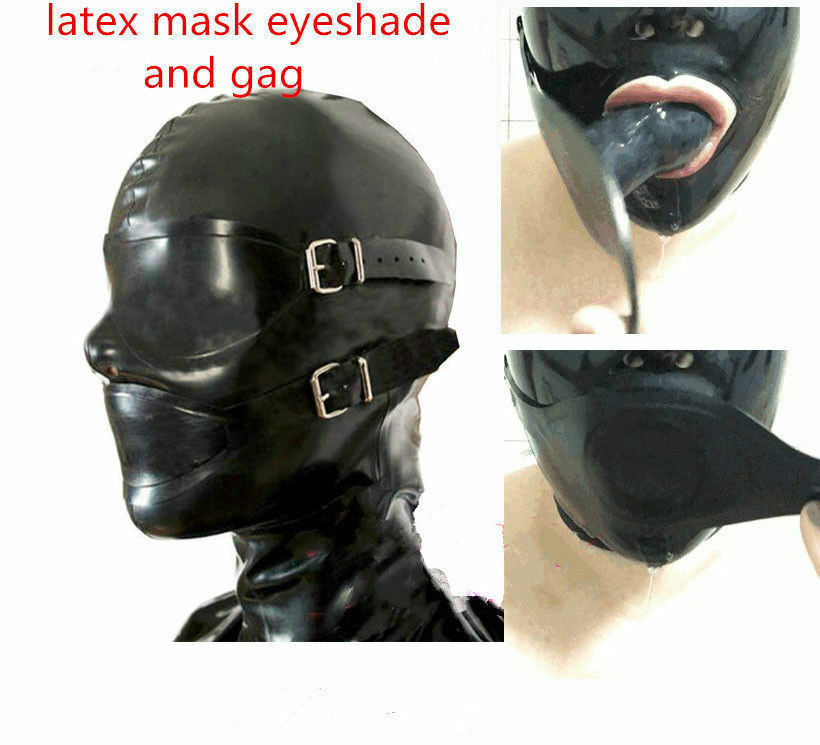 Hot Selling Latex Rubber Full Enclosure Hood Rubber Hood with Eyeshade and Gag bdsm sex  restraints adult games  bdsm mask  s&m