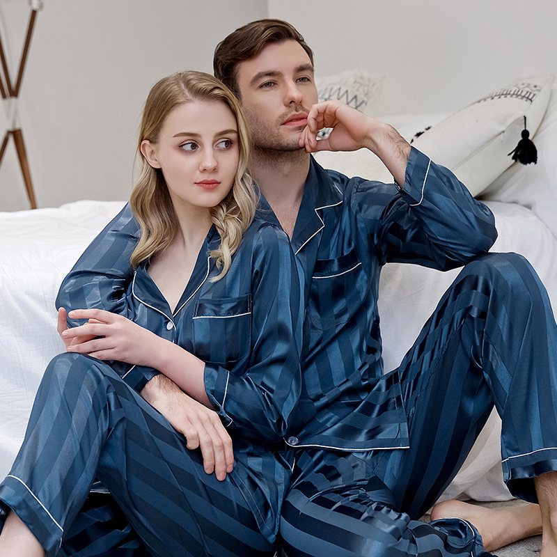 Satin Striped Nightwear 2PCS Pajamas Set Lovers Sleepwear Kimono Gown Silky Men Nightgown Pyjamas Casual Home Clothes Bathrobe