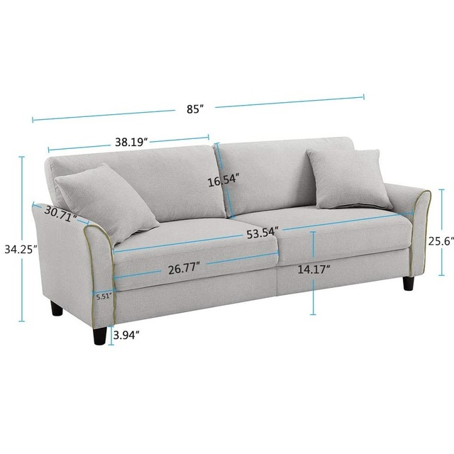 Tribesigns Mid-Century Upholstered 85 Inch Sofa Couch, Modern Linen Fabric Couch for Small Space 6