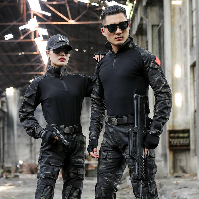 Seragam Militer Taktis Kamuflase Pakaian untuk Pria Kami Tentara Pakaian Wanita Airsoft Militer Tempur Kemeja Celana Bantalan Lutut