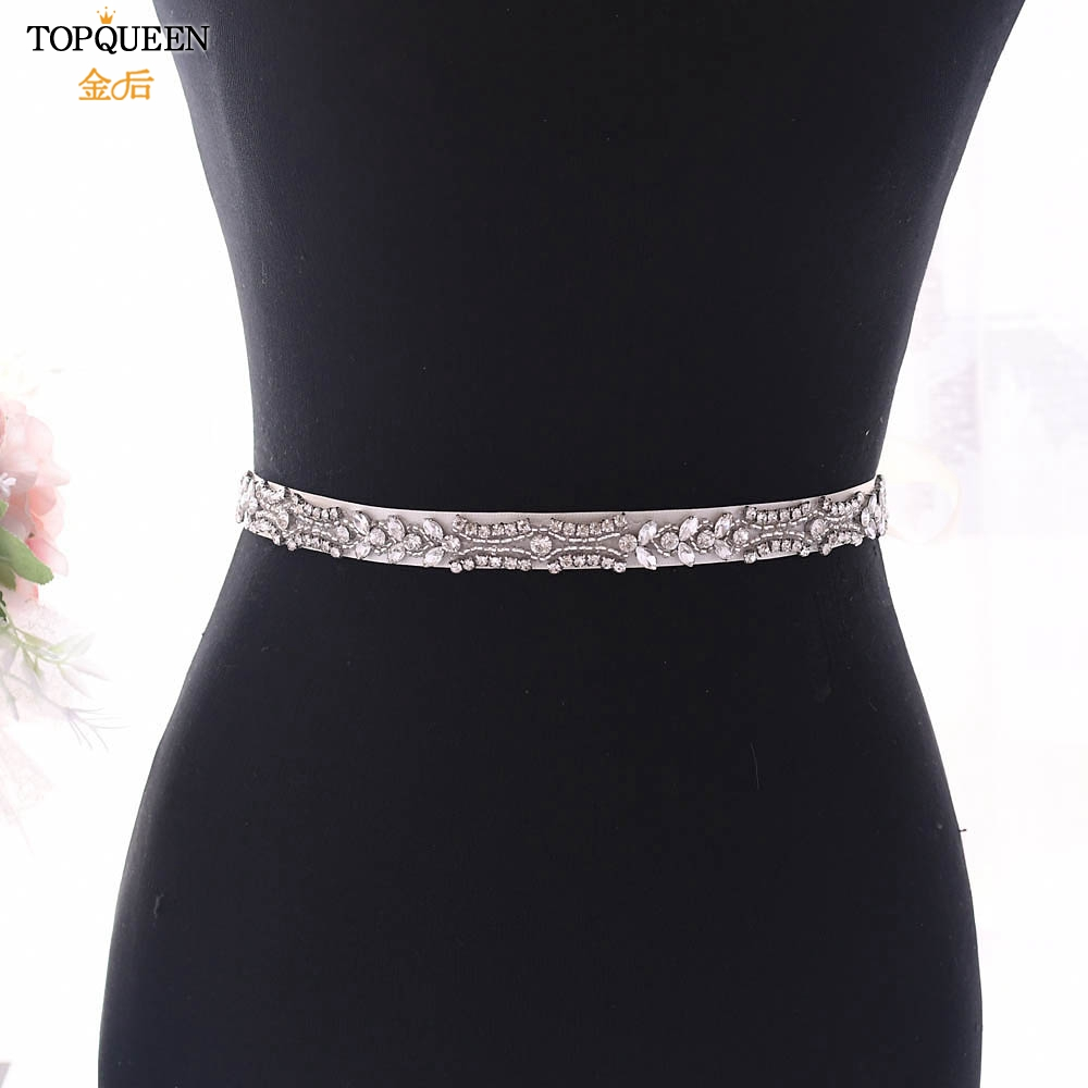 TOPQUEEN Luxury Rhinestone Trim For Wedding Belt Vintage Belts For Wedding Dresses Belts Crystal Decorative Silver Belt S430