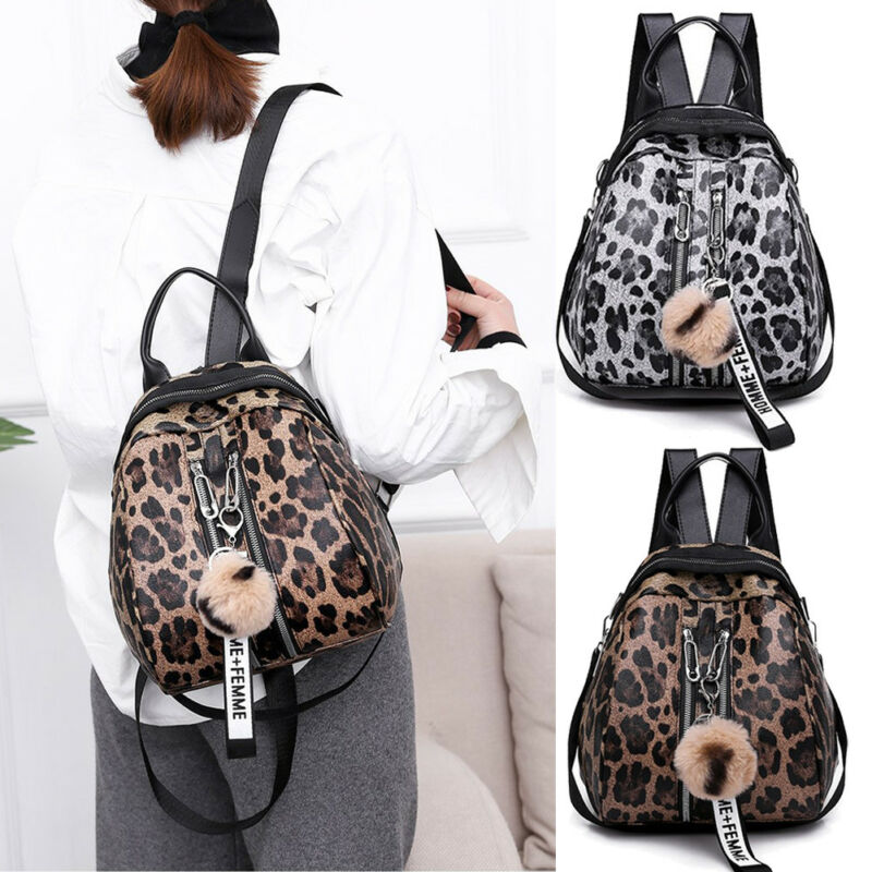 Leopard Print Large Mummy Backpack Nappy Diaper Baby Rucksack Travel Nursing Bag