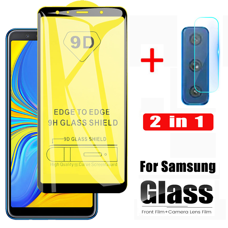 2 In 1 9D Screen Protector For Samsung Galaxy A7 2018 A750 Glass Sansung A8 Plus 2018 A9 Tempered Glass A 7 Lens Protective Glas