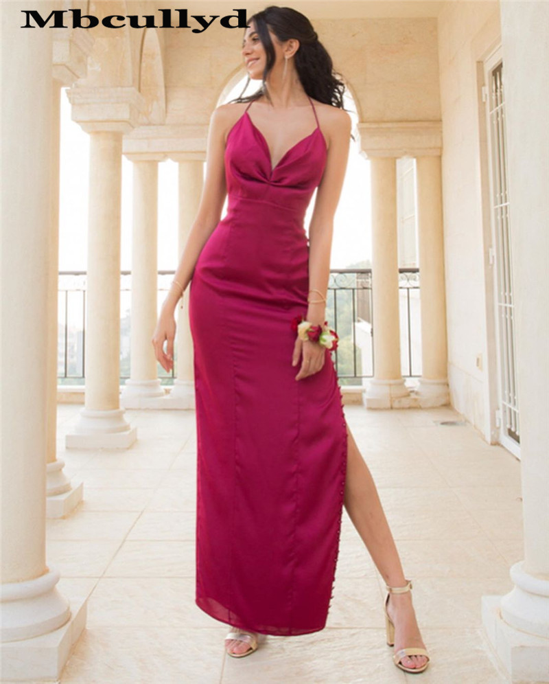 Mbcullyd Fuschia Mermaid   Prom     Dresses   Long With High Split Halter Neck Formal Evening   Dress   Party Plus Size Vestidos De Gala