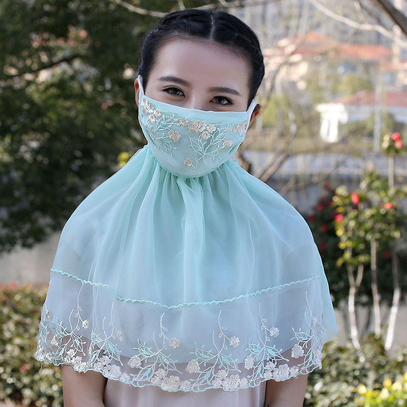 Cute Mask New Fashion Ladies Lace Patchwork Dustproof Masks Summer High Quality Windproof Kawaii Long Sunscreen Lace Mask