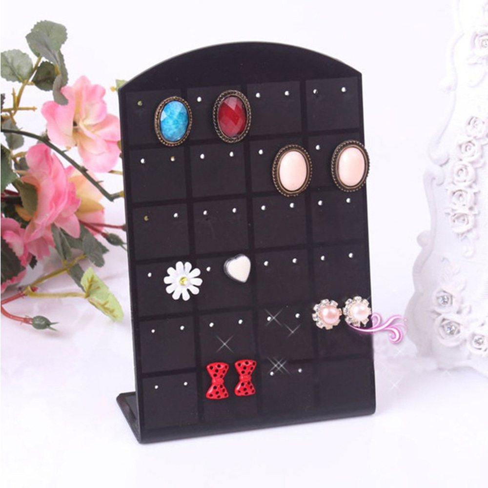 New 1 Pc 48 Holes Fashion Earrings Ear Studs Jewelry Show Plastic Jewelry Display Rack Metal Stand Organizer Holder For Necklace