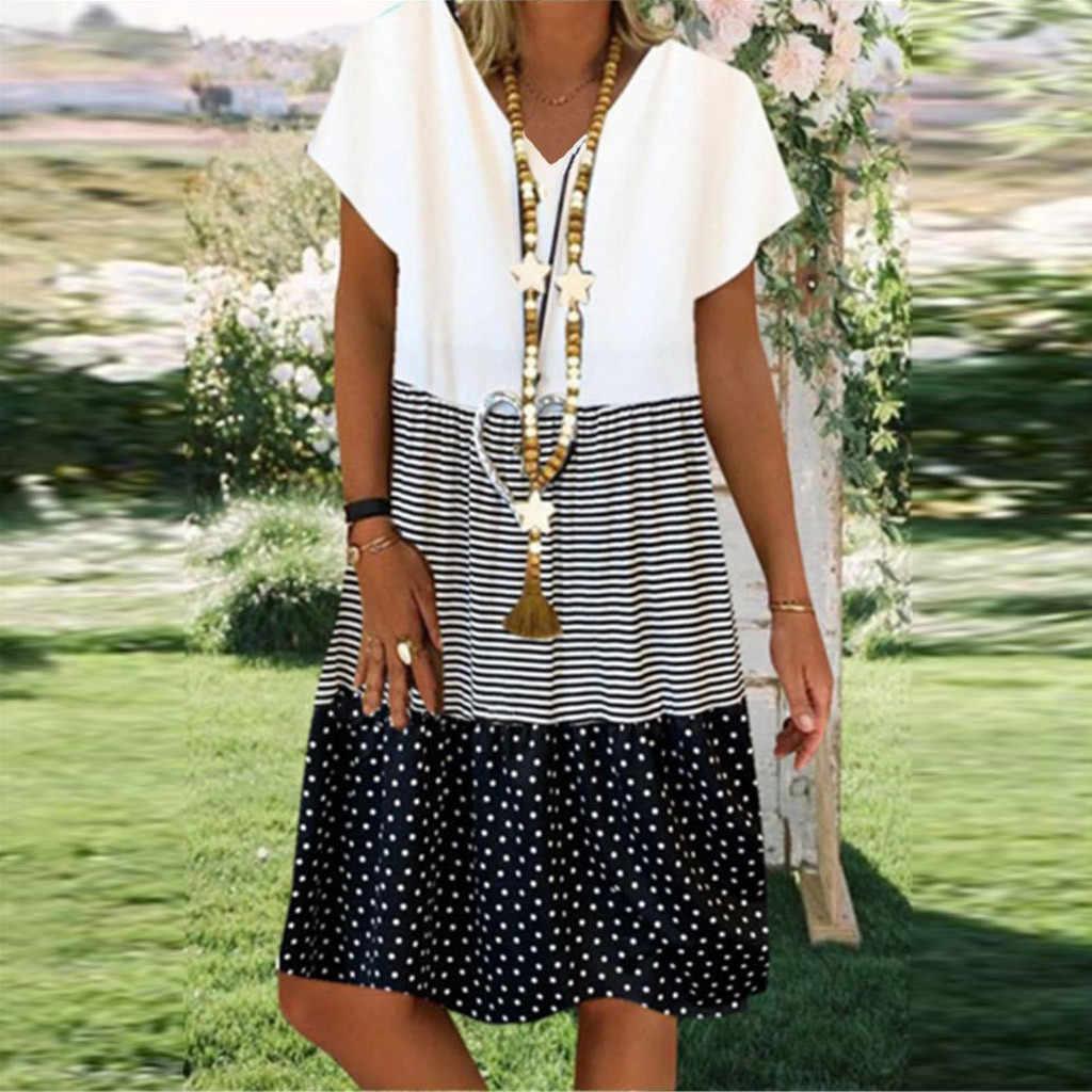 Kleid Sommer Frauen Elegante Patchwork Kurzarm V-ausschnitt Kleid Lose Boho Sommerkleid Plus Größe Vintage Striped Dots Print 2020