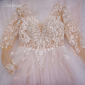 Image 5 - Long Sleeve V Neck Shinny Wedding Dress With Sparkle Tulle Lace Appliqued Floor Long Dancing Bridal Gown 2020 New Design