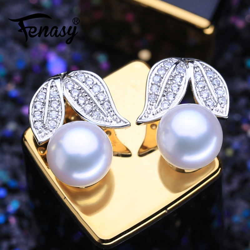 FENASY 925 Sterling Silver Stud Earrings Natural Freshwater Pearl Earrings For Women Christmas Fashion Boho Jewelry