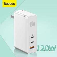 Baseus 120W GaN ładowarka USB wtyczka amerykańska szybkie ładowanie dla iPhone Xiaomi QC4 0 3 0 PD3 0 ładowarka amerykańska szybkie ładowanie do laptopa Tablet tanie tanio ROHS USB PD CN (pochodzenie) 1 Port Podróży Ac Źródło 120W US EU Plug Charger Baseus GaN2 Pro Quick Charger 2C1U 120W (US EU Plug)