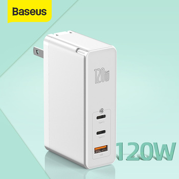 Baseus 120W GaN USB Charger US Plug Quick Charging For iPhone Xiaomi QC4.0 3.0 PD3.0 US Charger Fast Charging For Laptop Tablet