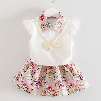 Baby Girls Clothes Newborn Cute Lace Set Vest Plus Small Floral Skirt Children Sweet Costume 0-4 Years Old Necklaces