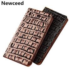 цена на Crocodile Pattern Genuine Leather Flip Phone Case Card Slot Holder For HTC One X10/HTC One X9/HTC One A9 Phone Bag Cover Cqoue