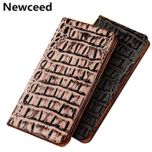 Crocodile Pattern Genuine Leather Flip Phone Case Card Slot Holder For Redmi Note 5 Pro Case For Redmi Note 6 Pro Phone Bag Case ostrich pattern genuine leather case card slot holder phone bag for xiaomi redmi note 6 pro redmi note 5 pro flip phone cover