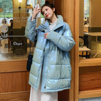 Fashion Glossy Winter Women Oversize Down Coat 2020 New Long Stand Collar Jacket Female Ladies Parka Outwear