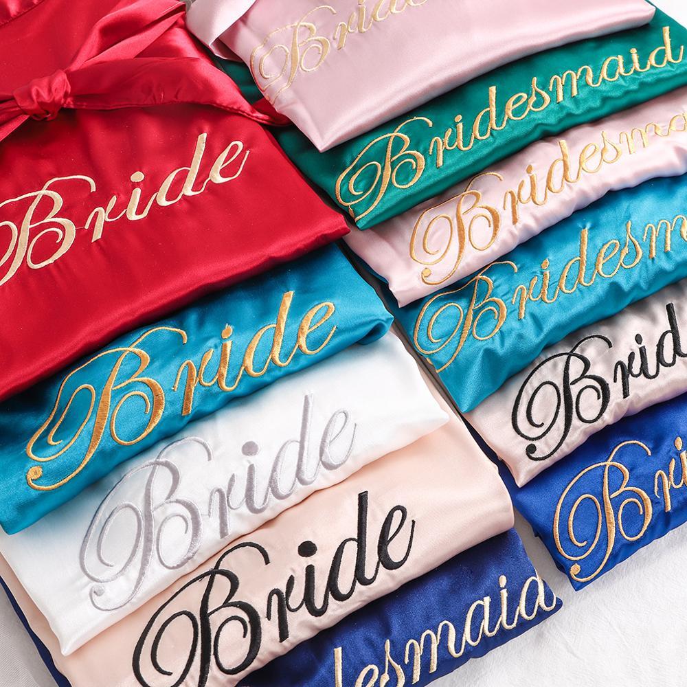 Sexy Sleep Nightshirt Sleepwear Wedding Robes Bride Bridesmaid wedding Kimono Bathrobe Dress Women Rayon Embroidery Robe M-XL
