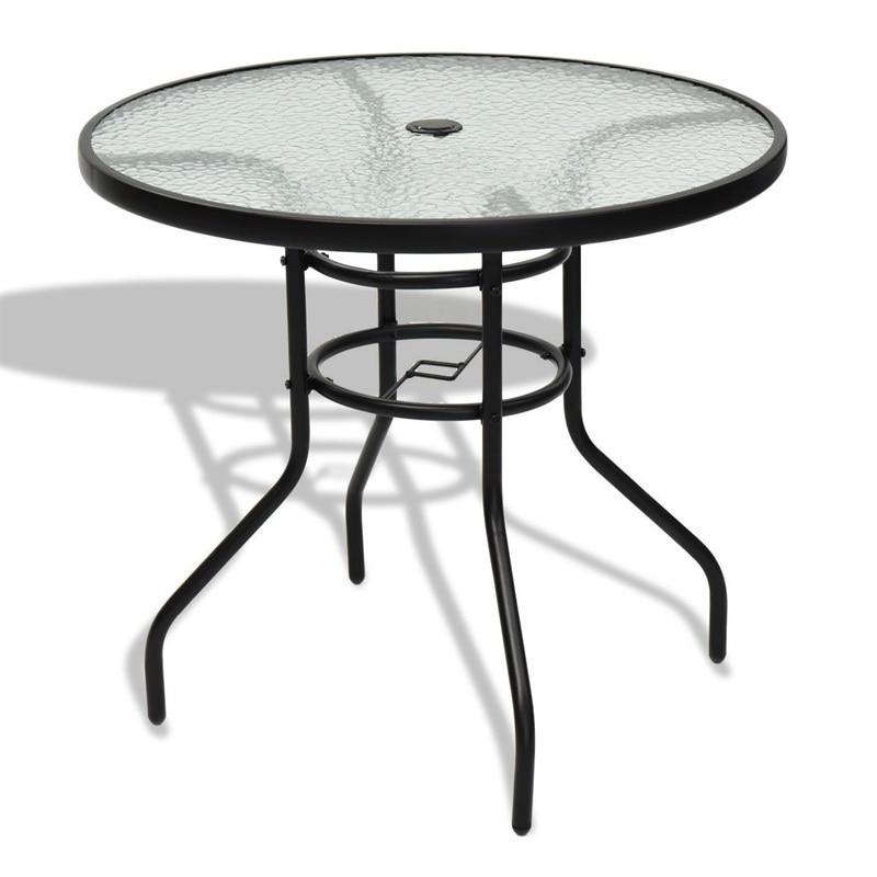modern outdoor furniture garden 32 patio tempered glass steel frame round table hw65657