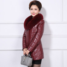Genuine Leather Jacket Natural Sheepskin Coats Women Thick Warm Alpaca Liner Winter Jackets Real Fox Fur Collar DMS-A82(China)