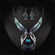 TTLIFE Creative Blue Drop Shaped Exaggerated Necklace Pendant Collar Chain Set Wedding Dating Dinner Fashion Set residence major suit high set counters million baroque full luxury retro dinner exaggerated statement necklace girlfriend gift