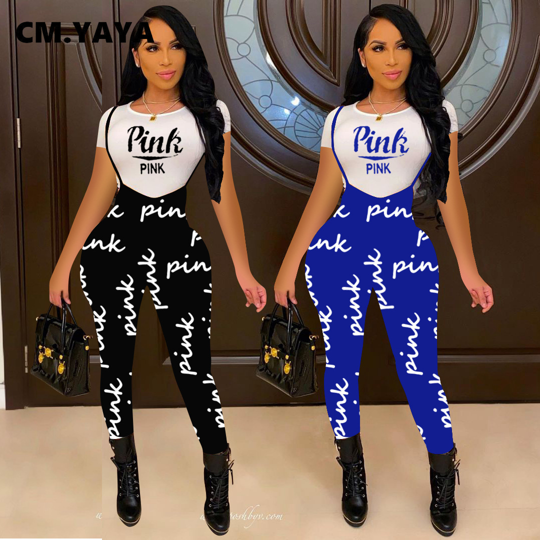 CM.YAYA PINK Letter Print Suspenders Two Piece Outfits Women Short Sleeve Pullover Tshirt Sheath Elastic Long Pants 2 Piece Set