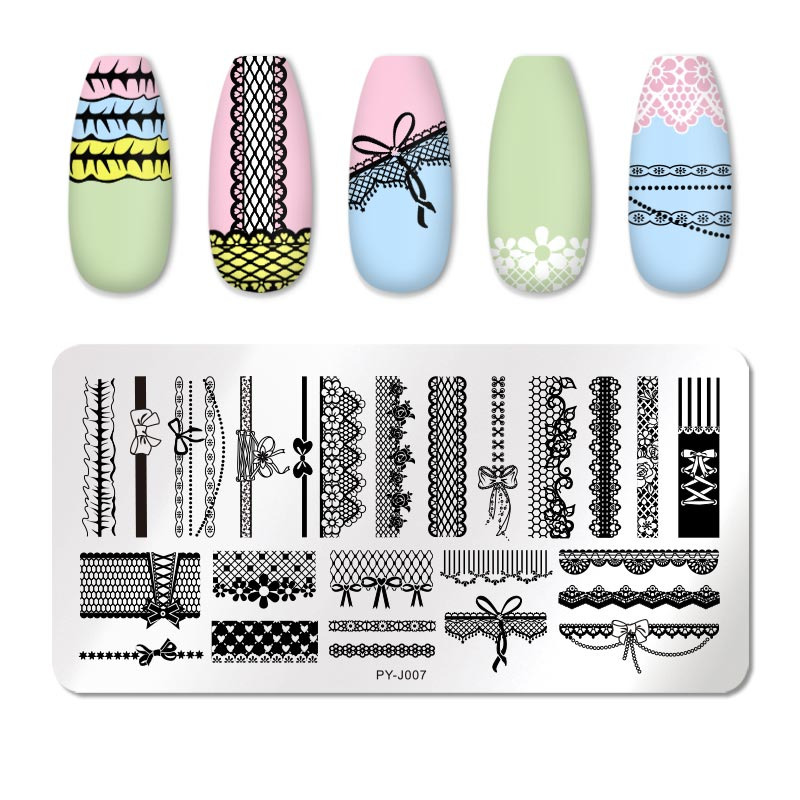 PICT YOU 12*6cm Nail Art Templates Stamping Plate Design Flower Animal Glass Temperature Lace Stamp Templates Plates Image 41