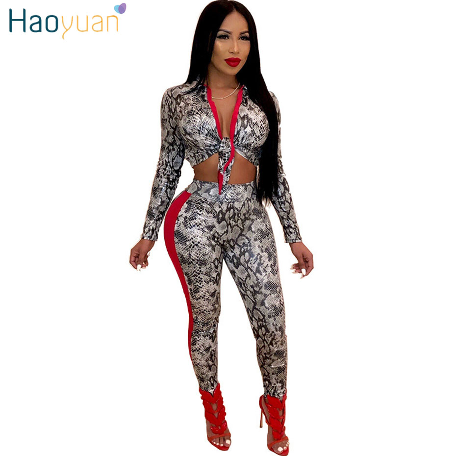 HAOYUAN Leopard Snake Print Two Piece Set Women Fall Clothes Sexy Club Outfits Long Sleeve Crop Top Pant 2 Piece Matching Sets