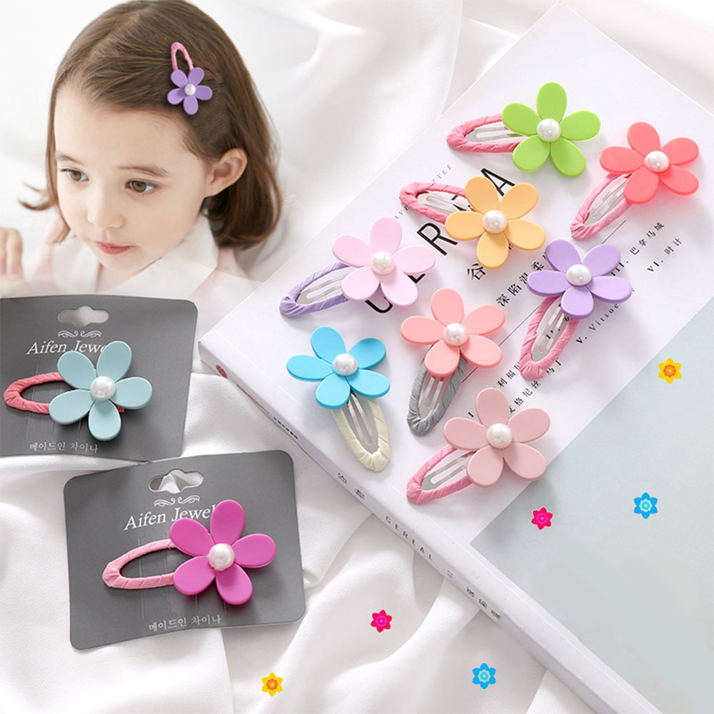 HOT Newborn Baby Cute Flower Headwear Infant Mini Bow Hair Clips Color Random