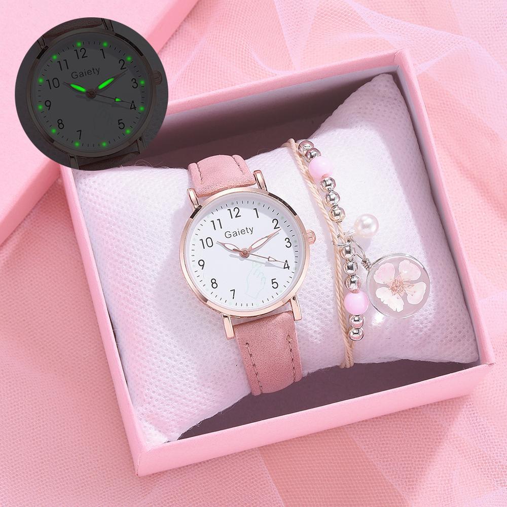 Модные детские часы с браслетом, розовые часы для девочек, детские цифровые кварцевые часы с кожаным ремешком, подарочные часы