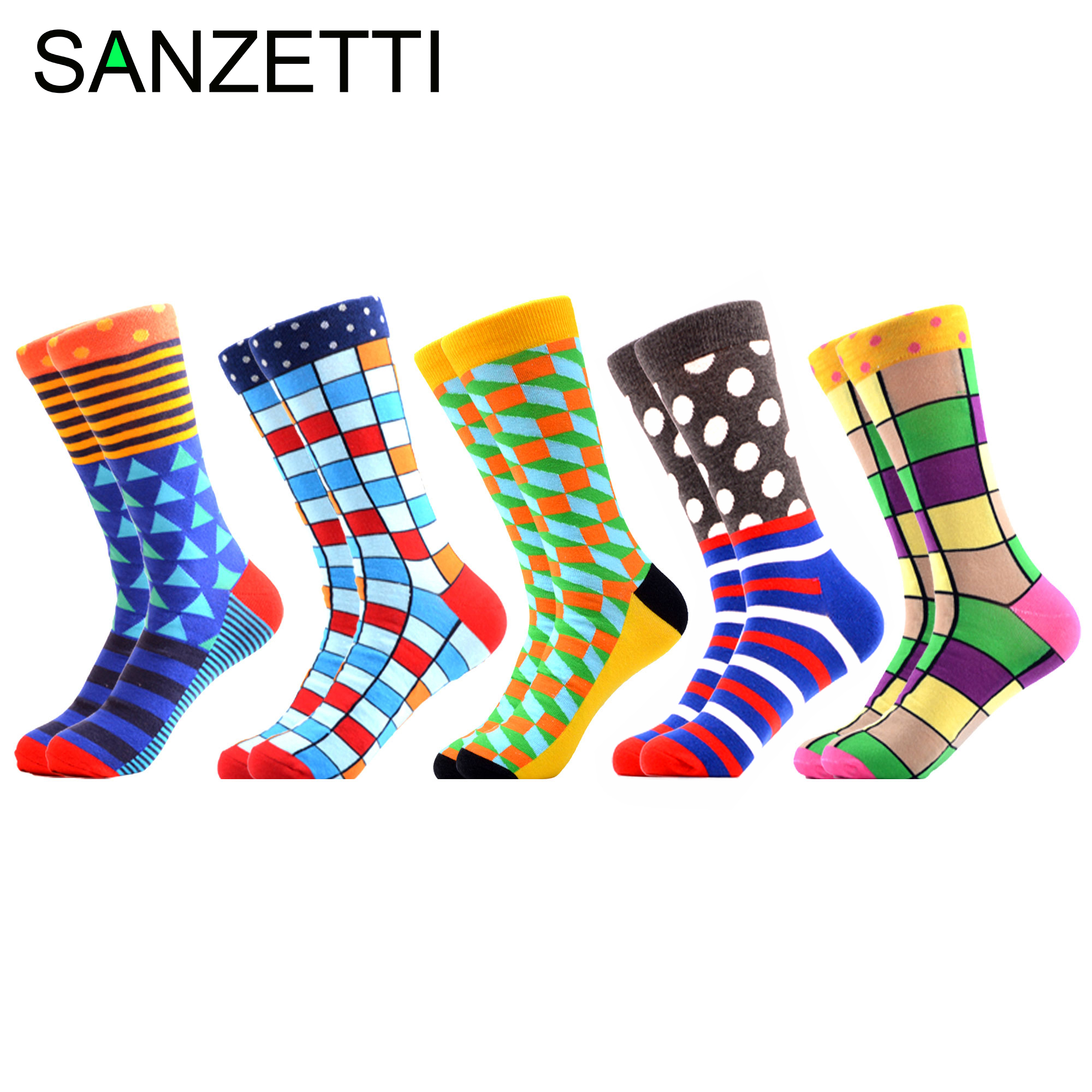 SANZETTI 5 Pairs/Lot Colorful Men's Combed Cotton Dress Wedding Sock Funny Male Dot Fruit Crew Business Socks For Birthday Gifts