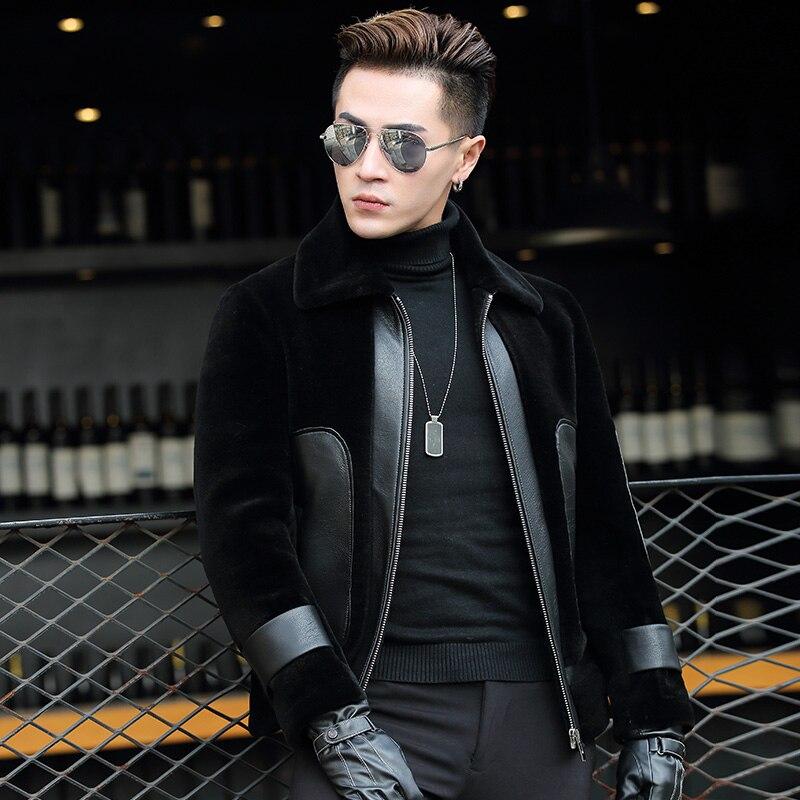 Real Fur Coat Winter Jacket Men 100%Wool Coat Sheep Shearling Fur Jacket Plus Size Abrigo Hombre Invierno P-1-7331 ZL881