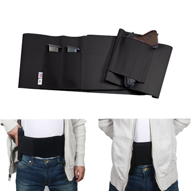 37inch Tactical Belly Band Holster For Gun Concealed Carry Pistol Gun Pouch Waist Bag Invisible Elastic Girdle Belt For Hunting