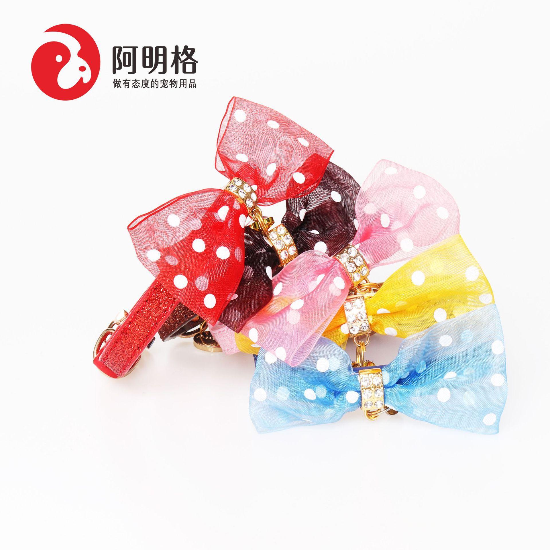 Jin Jie Te High Quality Hot Selling Bow Pet Collar Pu Glitter Dog Neck Ring