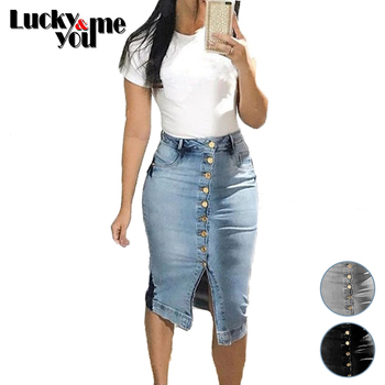 New Arrive 2020 Womens Summer Big Size Sexy Single-Breasted Cardigan Denim Skirt Female Mid-Calf Length Skirt Girls Street Wear girls single breasted denim skirt