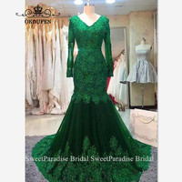 Green Lace Evening Dress With Appliques Beads Sheer Long Sleeves Chapel Train V Neck Mermaid Prom Dresses For Women