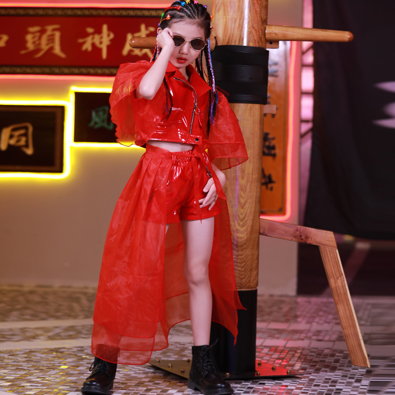 Jazz Dance Costumes Girls Red Stage Performance Clothing Street Hip Hop Dancing Outfit Children Cheerleading Party Wear DNV12357