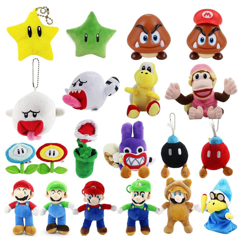 Anime Super Mario Bros Mario Luigi Goomba Ghost Star Mushroom Koopa Flying Fish Ice Fire Piranha Flower Plush Toys Kids Gifts Movies Tv Aliexpress