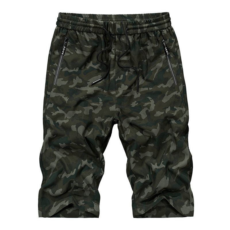 Elasticity Capri Pants Sports Quick-Dry Outdoor Loose And Plus-sized Elastic Waist Camouflage Printed Beach Short Pants