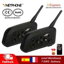 Qplove Vnetphone V6 Motorhelm Intercom Bluetooth Helm Headset 1200M Draadloze Praten Ondersteunt Fm En Muziek