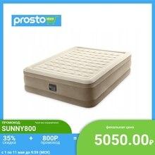 INTEX Кровать надувная ULTRA PLUSH встроенный электронасос, 152x203x46см