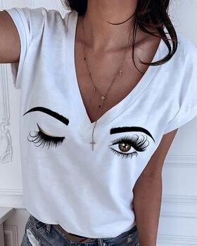 white wink trendy womens v neck tshirt