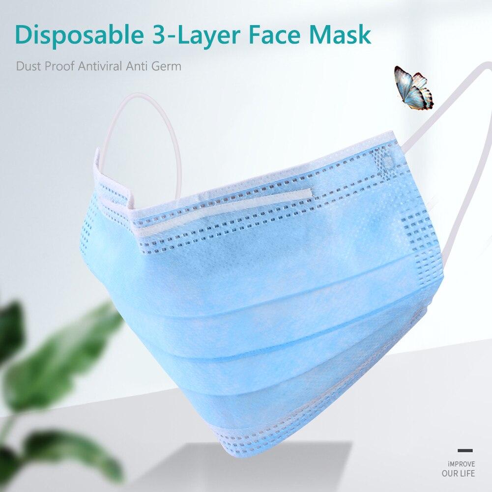 10pcs Disposable 3-Layer Face Mask Dust Proof Antiviral Earloop Masks Dustproof Face Mask Unisex Facial Protective Cover Masks