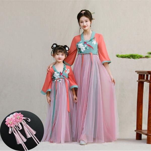 Antiguo chino Han dinastía princesa traje chino tradicional vestido de niña trajes Hanfu mujeres Año Nuevo Chino nacional ropa para niños